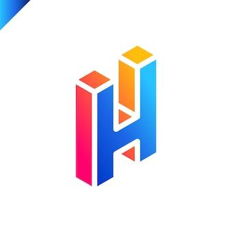 Isometrische letter h-logo