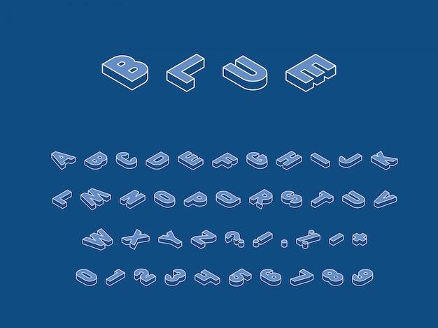 Isometrische letters, cijfers en tekens in verschillende richtingen met witte dunne lijncontour op trendy klassieke blauwe achtergrond. vintage alfabet in trendy kleuren
