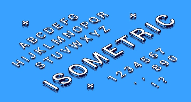 Isometrische lettertype, geometrische 3d-type.