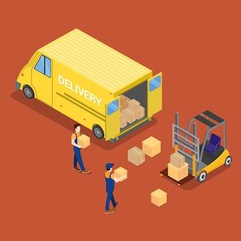 Isometrische levering auto. vrachtindustrie. werknemer op heftruck. lading laden.