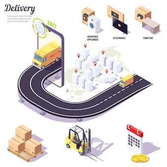 Isometrische levering, mobiele applicatie voor het bestellen van bezorgdiensten voor grote en kleine goederen, huishoudelijke apparaten, elektronica, meubels.