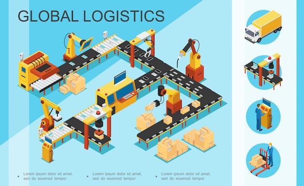 Isometrische logistiek en magazijn samenstelling met assemblage- en verpakkingslijn dozen robotarmen vrachtwagen operator opslagmedewerker