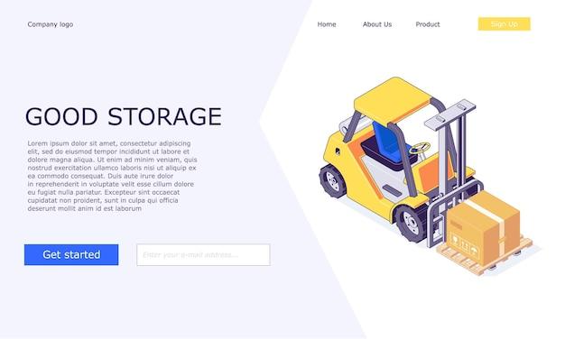 Isometrische logistieke magazijndozen op het ontwerp van vorkheftrucks