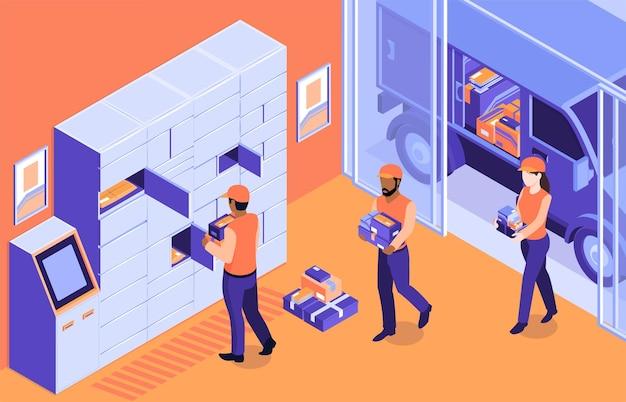 Isometrische logistieke samenstelling van de postterminal met binnenlandschap en postbodes die pakketten in geautomatiseerde locker laden