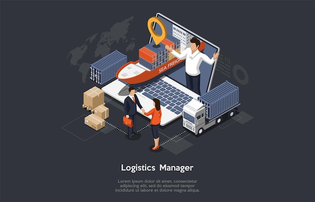 Isometrische logistiekmanager en magazijnconcept