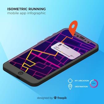 Isometrische lopende mobiele app infographic
