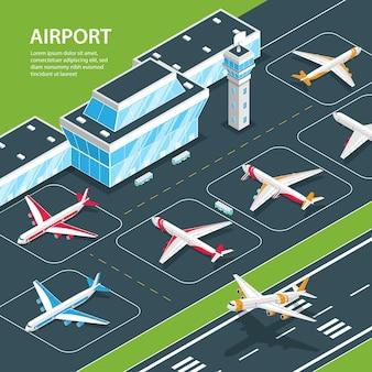 Isometrische luchthavenillustratie met bewerkbare tekst en luchthaventerminalgebouw en vliegtuigen op vluchtstrook