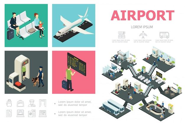 Isometrische luchthavensamenstelling met passagiersvliegtuig, aangepaste bediening, vertrekbord, wachthal, bussen, snackbar, bagagetransportband