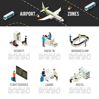Isometrische luchthavenzones sjabloon