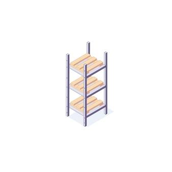 Isometrische magazijn apparatuur rack pallets plank illustratie