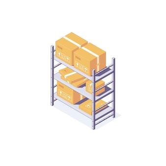 Isometrische magazijn box apparatuur rek pallet en plank illustratie