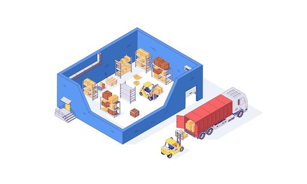 Isometrische magazijn container pakket pallet heftruck fabriek illustratie