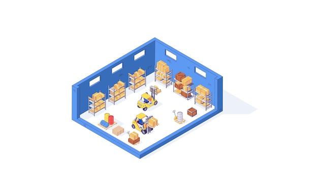 Isometrische magazijn doos pallet pakket pallet en heftruck fabriek illustratie