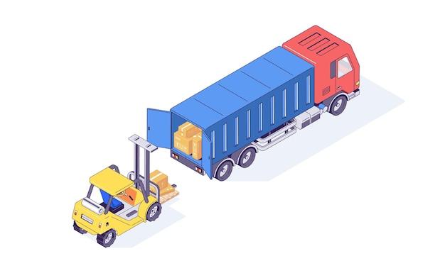 Isometrische magazijn dozen heftruck en lader illustratie