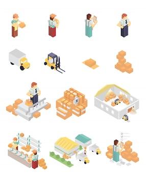 Isometrische magazijn elementen set