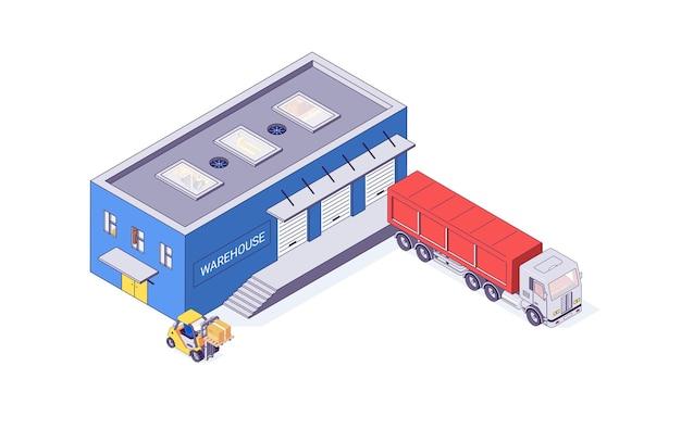 Isometrische magazijn en opslag vorkheftruck gebouw illustratie
