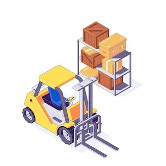 Isometrische magazijn heftruck met karton en houten kisten op de plank. opslag- en leveringsconcept met gele vorkheftruck en pakketten. magazijnmachines met doos in vracht en verzending