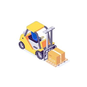 Isometrische magazijn heftruck palletbox en lader illustratie