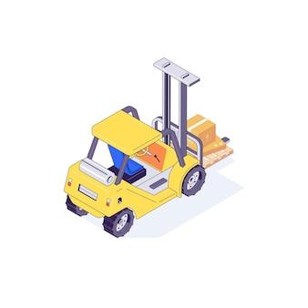Isometrische magazijn heftruck palletbox en machine illustratie