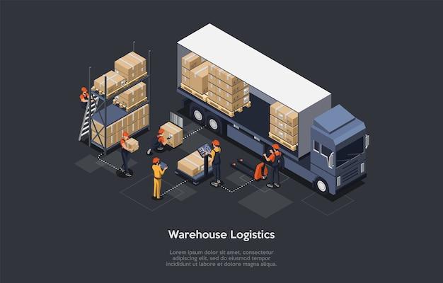 Isometrische magazijn logistiek concept. modern interieur van magazijn, laad- en losproces van bestelwagens. apparatuur voor het afleveren van vracht. vector illustratie.