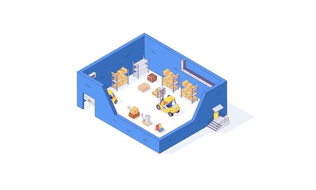 Isometrische magazijn magazijn pakket pallet heftruck fabriek illustratie