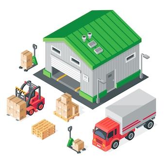 Isometrische magazijn. opslag, voorraadopbouw, vrachtwagen, heftruck en vorkpallettruck.
