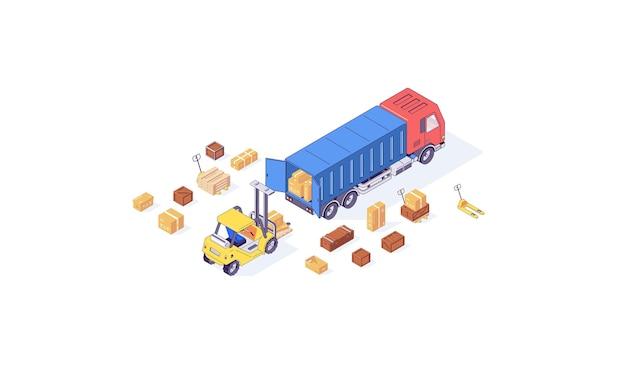 Isometrische magazijn vak lading vorkheftruck pallet en heftruck goederen laden illustratie