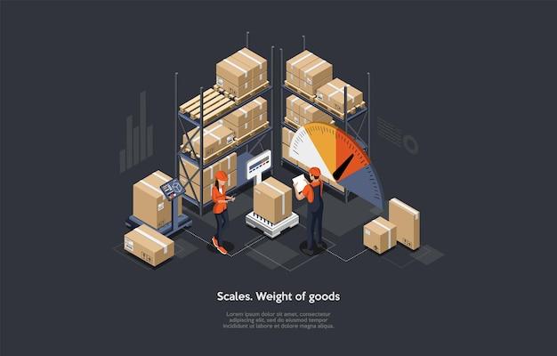 Isometrische magazijn weging en goederen sorteren concept.