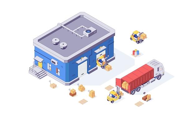 Isometrische magazijnkist lading heftruck pallet en heftruck fabriek. levering goederen illustratie. dozen heftrucks pallets vrachtwagens geïsoleerd op een witte achtergrond. logistiek concept