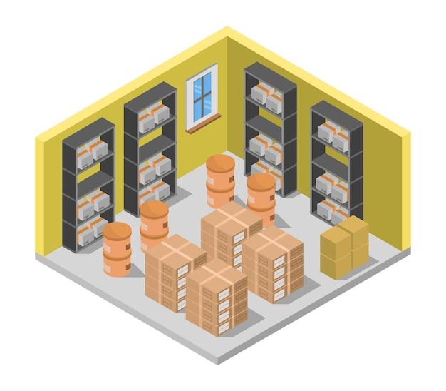 Isometrische magazijnruimte