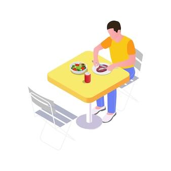 Isometrische man aan het dineren aan tafel buiten 3d