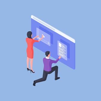 Isometrische man en vrouw die in team werken en video- en tekstinhoud ontwerpen op online pagina van website geïsoleerd op blauwe achtergrond