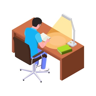 Isometrische man leesboek aan bureau met lamp 3d