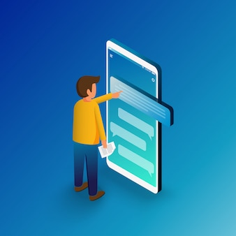 Isometrische man typen op mobiele smartphone