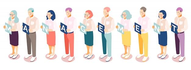Isometrische managementmensen stellen achtergrond met rij geïsoleerde menselijke karakters in die platen met alfabetische karakters houden