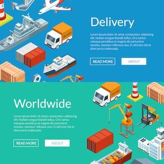 Isometrische maritieme logistiek en zeehaven webbannersjablonen