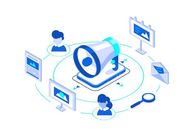 Isometrische marketing bedrijfsillustratie.