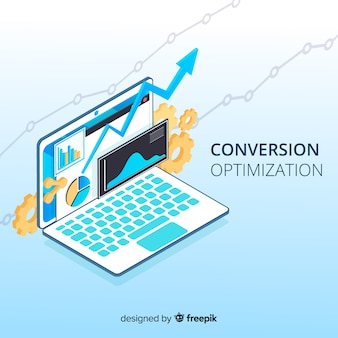 Isometrische marketing optimalisatie achtergrond