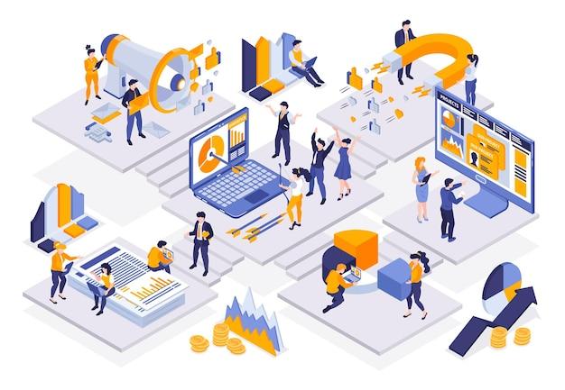 Isometrische marketingstrategiesamenstelling van platforms verbonden met trappen en mensen met computers en infographic elementen