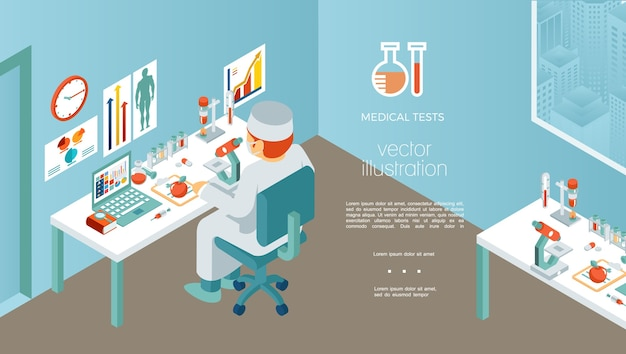 Isometrische medische onderzoekssjabloon