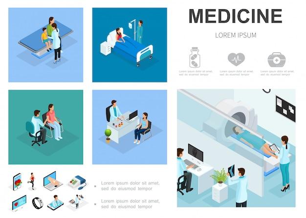 Isometrische medische zorg sjabloon met patiënten in ziekenhuisafdelingen mensen bezoeken artsen mri-scan procedure digitale geneeskunde pictogrammen