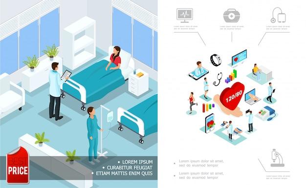 Isometrische medische zorgsamenstelling met arts die patiënt in het ziekenhuisruimte en digitale geneeskundeelementen bezoeken