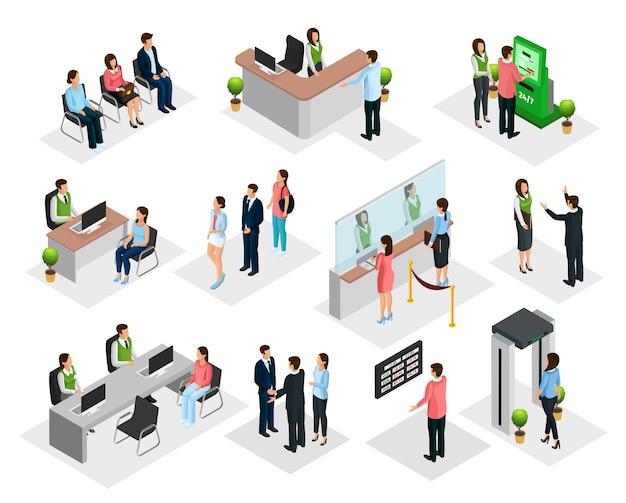 Isometrische mensen in bankcollectie
