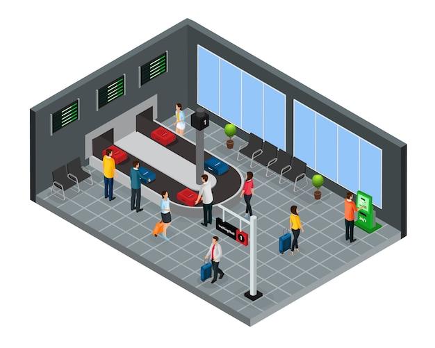 Isometrische mensen in luchthavenconcept