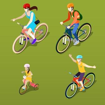 Isometrische mensen. isometrische fiets. familie fietsers.