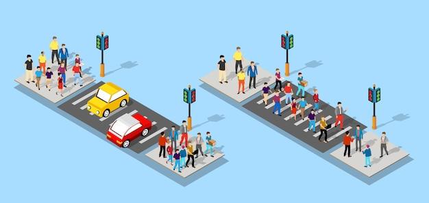 Isometrische mensen lopen