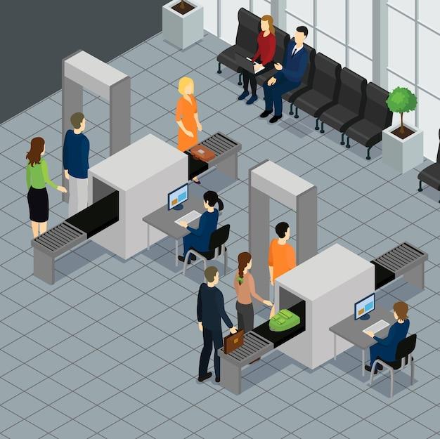Isometrische mensen luchthaven concept