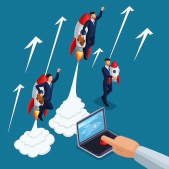 Isometrische mensen persoon, 3d opstarten, handpersen startknop laptop, opstijgen jonge zakenlieden, raket, ontwikkeling en bedrijfsstart, bedrijfsconcept