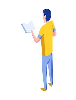 Isometrische mensen pictogram. 3d mannen achteraanzicht met boek in de hand. moderne jonge mensen