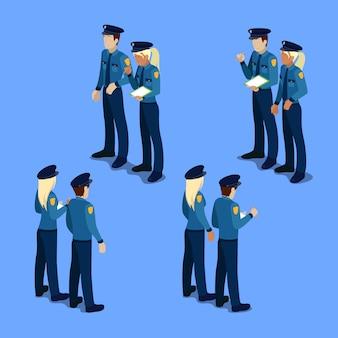 Isometrische mensen. politieagent en politieagente op het werk